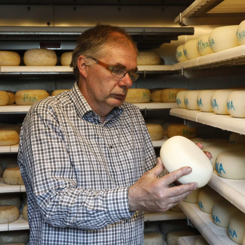 Man with cheese wheel in cheese storage