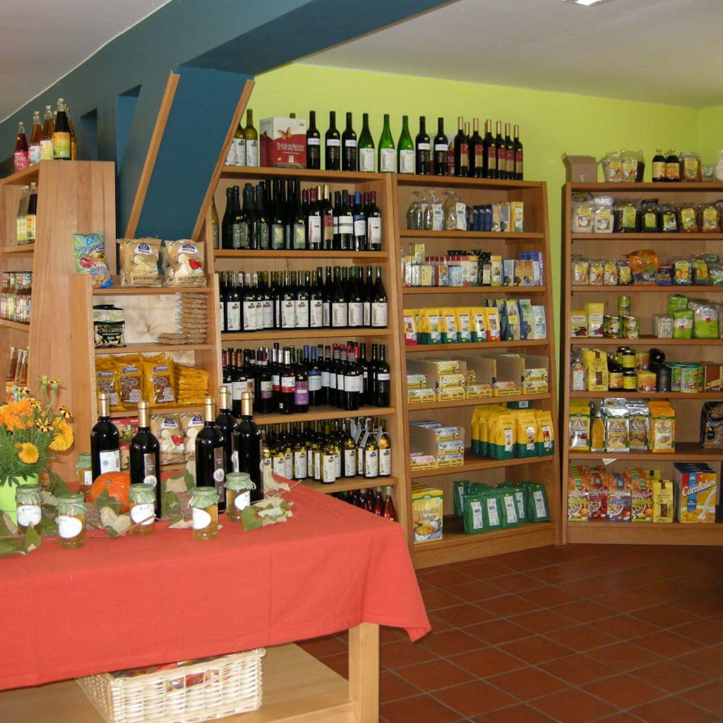 Organic market with stocked organic products